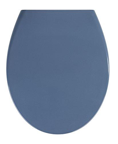 WENKO Abattant WC Samos Bleu Ardoise - couvercle de WC antibactérien, abaissement automatique, Duroplast, 37.5 x 44.5 cm, Bleu foncé