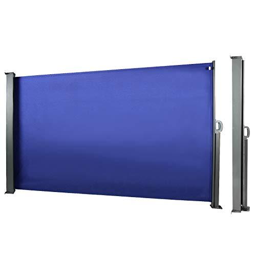CCLIFE Seitenmarkise Ausziehbar Sichtschutz Windschutz Sonnenschutz TÜV mit Alu-Rolle, Farbe:Blau, Größe:160x300cm