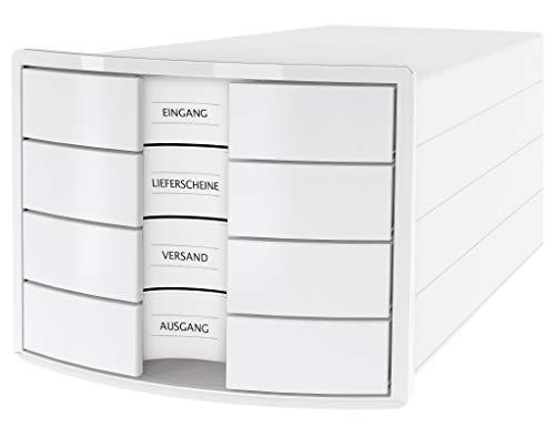 HAN Schubladenbox IMPULS 2.0 – innovatives, attraktives Design in höchster Qualität. Mit 4 geschlossenen Schubladen für DIN A4/C4, weiß, 1012-12