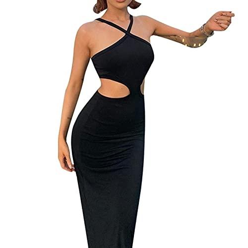 Glosun Vestidos de verano para las mujeres sin mangas Backless Cutout Bodycon Midi vestido de color sólido largo abrigo