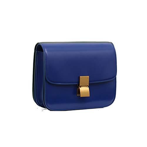 VIVIANE Leder Tofu Tasche Neue Retro Kleine Quadratische Tasche Mini Schulter Umschlungen Stewardess Tasche Einfache Handtasche (Color : Royal Blue, Size : Plain weave-20cm)