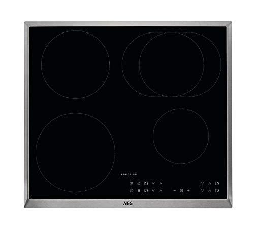 AEG - Placa de cocina (eléctrica, empotrada), 6 elementos de calor, 57,6 cm, función Hob²Hood, indicadores electrónicos para todas las zonas de cocción, color negro 60 cm, mit Bräterzone Negro
