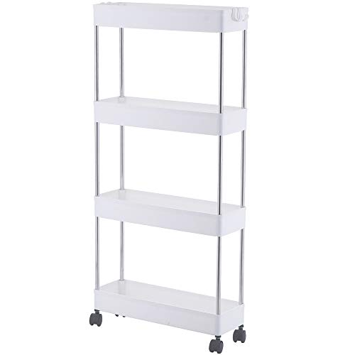 4 Tier Slim Storage Cart, Mobile Narrow Rolling Cart with Wheels, Conveniently Slide Out Organizer Shelf Cart for Kitchen Bathroom Pantry Laundry Narrow Space - Plastic (White)