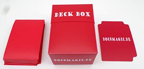 docsmagic.de Deck Box + 100 Mat Red Sleeves Standard - Caja & Fundas Roja - PKM - MTG