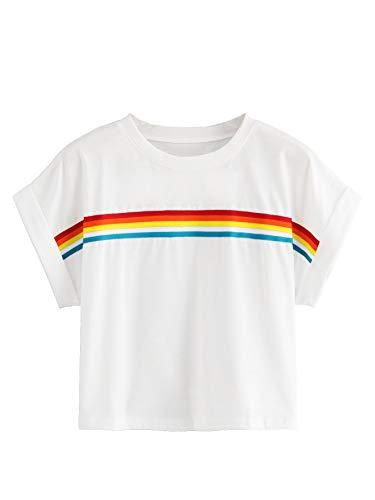 Romwe Women's Short Roll Up Sleeve Colorblock Striped Rainbow Print Crop Tee Top White L