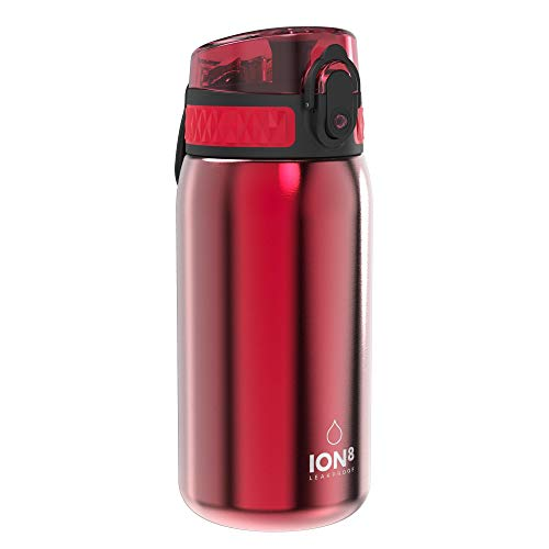 Ion8 Acero Inoxidable Botella Agua, Sin Fugas, Rojo, 400ml