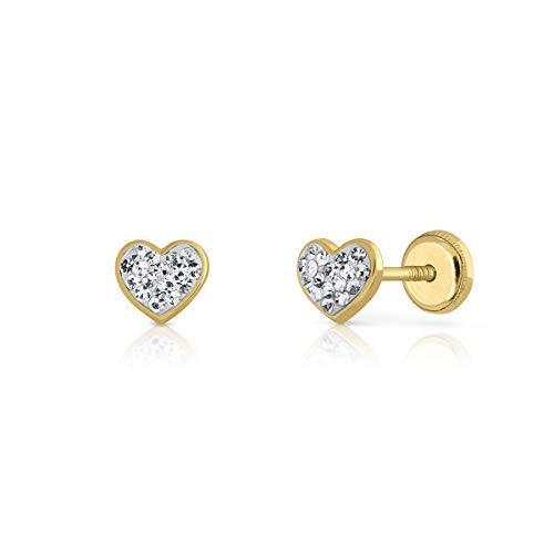 Pendientes oro real, 18k y 9 k, bebe niña o mujer, modelo corazón con piedras engastadas de calidad. Medida de la joya 5x5.5 milímetros. Con cierre de seguridad. (9 K - Circón en rosca)