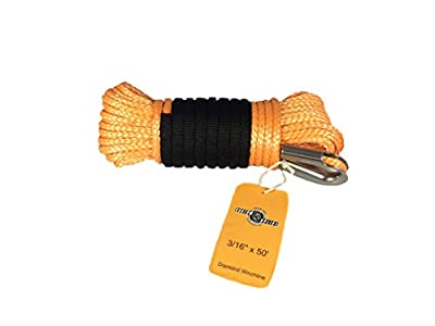 3/16 x 50' Foot Diamond Winch Rope ATV UTV Winch Rope with Tube Thimble