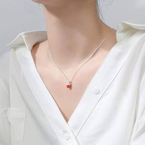WOZUIMEI Collar de Plata S925 Collar de Fresa Estilo Mori Femenino Cadena de Clavícula de Verano Dulceplata
