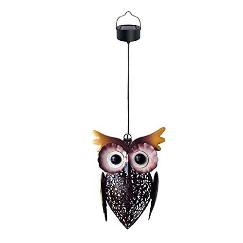 Lámpara LED solar de metal, diseño de búho, decoración de jardín, decoración de jardín