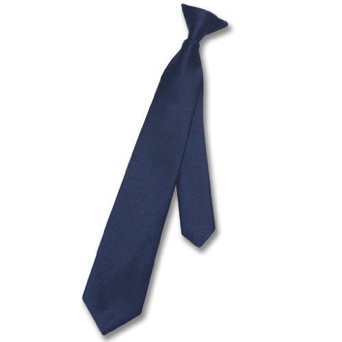 Vesuvio Napoli Boy's CLIP-ON NeckTie Solid NAVY BLUE Color Youth Neck Tie