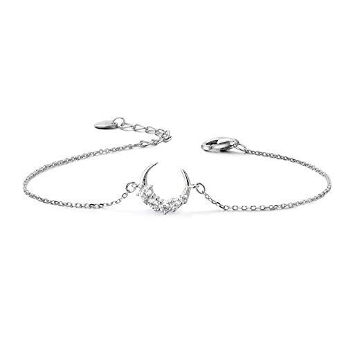 S925 - Pulsera de plata de diseño sencillo con cristal y luna plateada, adorno pequeño de cadena de miel fresca
