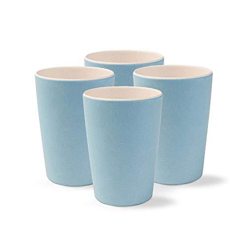 BIOZOYG Hochwertiges Kindergeschirr I 4 teiliges Bambus Becher Set BPA frei, spülmaschinenfest I Campinggeschirr Partybecher Trinkbecher für Kinder Natur weiß/blau 300 ml