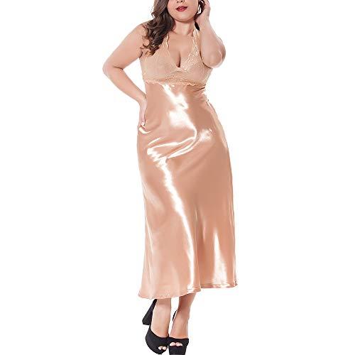 Jnzr Sexy Spitzenpyjama, Nachthemd für Frauen Seidenrock Fett MM Langen Abschnitt Größe Schlafkleid Silky Slip Satin Fest und schön,Gold,3XL