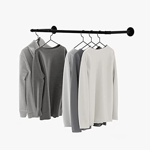 pamo Appendiabiti Industrial Loft Design - FINN - Porta asciugamani o stand appendiabiti con montaggio a parete o a soffitto   in bagno o in camera da letto, in robusti tubi di colore nero
