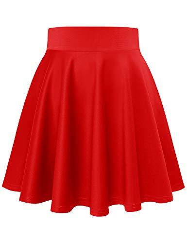 MuaDress 9001 Mini Gonna Svasata Donna da Pattinatrice Anni 50 Moda Versatile Elastica Solida Colore Red Mini L