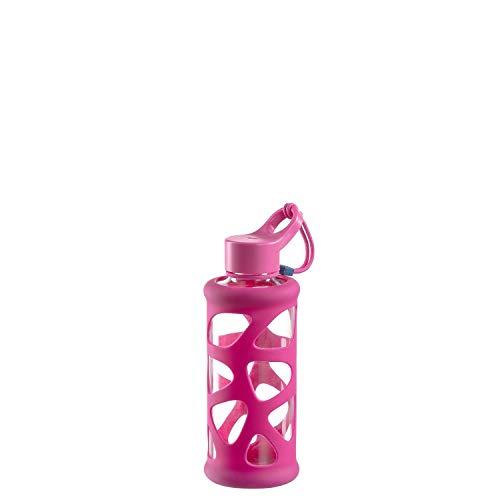 Leonardo 029226 In Giro Gourde à emporter en verre borosilicate avec étui de protection Passe au lave-vaisselle Rose 350 ml