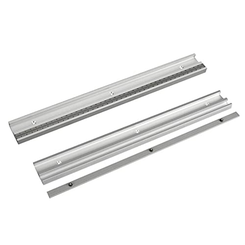 LUYIPINGQIWND Aluminiumlegierung T-Track Holzbearbeitungs-T-Slot-Gehrungsspur mit Maßstab für Router-Tabelle Bandsägen Holzbearbeitungswerkzeuge (Color : 1Pc Fixed Scale,...