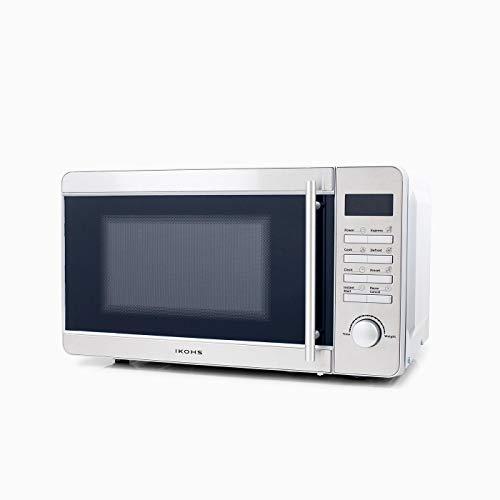 IKOHS Microondas MW700S Plateado - Microondas, 700W,Capacidad de 20L, 5 Niveles de Potencia, Temporizador hasta 30 minutos, Menú Automático, Cocción Multifrecuencia, Dispone de Reloj Digital