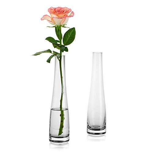 Glass Vase for Flowers, 2Pcs Grey Simple Bud Vase Tall Thin Narrow Necked Bottles for Home Living Room Office Indoor Decor Wedding Table Desktop Centrepieces