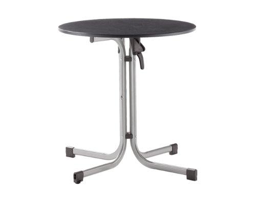 Sieger 1325-50 Gastro-Tisch mit Puroplan-Platte Ø 68 cm, Stahlrohrgestell graphit, Tischplatte Schieferdekor anthrazit