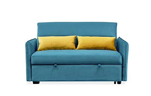 Merax Sleeper Couch, Small Velvet Sofa for Living Room or Bedroom, Including Pull Out Bed and 2 Lumbar Pillows, Blue Sofabed, Compact