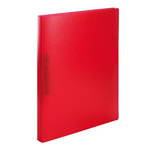 HERMA 19163 Ringbuch DIN A4 Transluzent Rot, schmal, 2 Ringe, stabiler Kunststoff, 25 mm breit, transparenter Ringbuchordner für die Schule und Büro, Ringbuchmappe