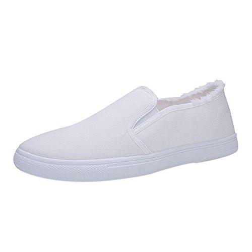 Slip On Sneaker für Herren/Skxinn Herrenschuhe Classic Low Top Canvas Mokassin Fashion Schlupfschuhe Bequeme Schuhe Ausverkauf(Z1-Weiß,39 EU)