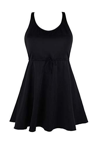 JINXUEER Women's Plus Size Swimsuit One Piece Floral Print Swimwear Tummy Control Swimdress with Flared Skirt (18, Black)