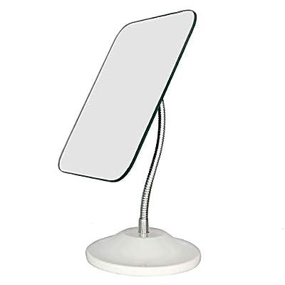 YEAKE Adjustable Flexible Gooseneck Makeup Mirror,360°Rotation Folding Portable Desk Vanity Mirror with Stand Shower Shaving Cosmetic Mirror Square