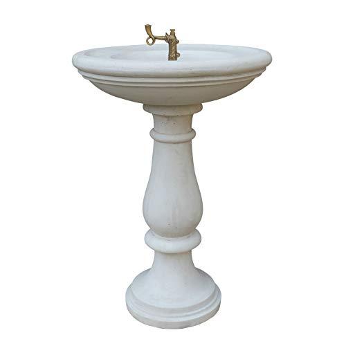 STONE art & more Fuente Pisa, 94 cm de altura, color blanco antiguo, piedra fundida con mármol Carrara, incluye grifo de latón, fabricada en Italia, 100% resistente a las heladas