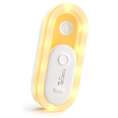 Luz Nocturna Infantil LED USB, Luz Nocturna Automática Tesecu con Sensor Crepuscular +Sensor de Movimiento para Habitación Bebé, Dormitorio, Sala, Garaje, Baño, (Blanco Cálido)