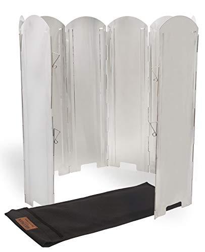 HIKEMAN Aluminium Windschutz für Gaskocher - Faltbar Windscreen mit 8-Lamellen aus Aluminium Outdoor Höhe 39/49/59 / 69CM für Campingkocher,Gaskocher zum Grillen,Picknick (Height 59 cm)