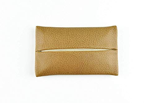 「Thing.Is」PU Leather Pocket Tissue Holder, Travel Tissue Cover, Travel Tissue Holder, Kleenex On-the-Go Tissue Case, Tissue Pouch, Tan/Light Brown