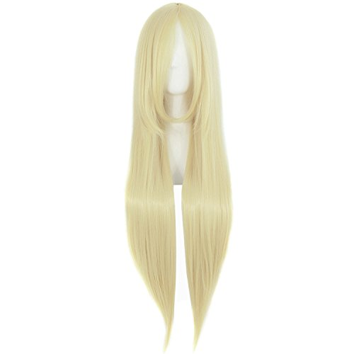 MapofBeauty 80cm/ 31 Pollice Lungo Lisci Donna Lisci Parrucche (Leggero Biondo)