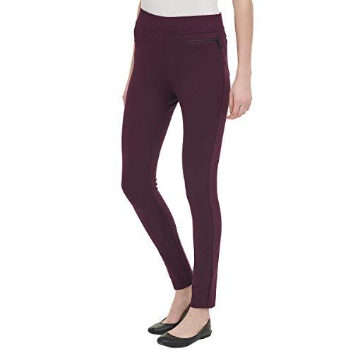 DKNY Ladies Pull-on Ponte Pant - Large Sizes - Black Gray Purple (Small, Merlot)