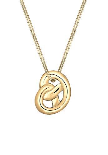 Elli Halskette Damen Wiesn Brezel in 925 Sterling Silber vergoldet