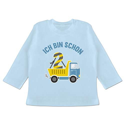 Shirtracer Geburtstag Baby - Ich Bin Schon 2 LKW - 3/6 Monate - Babyblau - geburtstagsshirt Langarm Junge - BZ11 - Baby T-Shirt Langarm