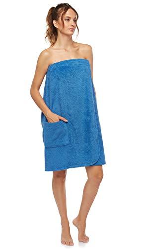 Arus Women's GOTS Certified Organic 100% Turkish Terry Cotton Adjustable Closure Bath Wrap Medium Royal Blue
