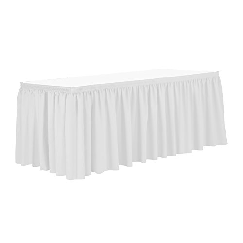 Ultimate Textile 21 ft. Shirred Pleat Polyester Table Skirt White