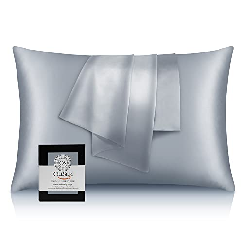 OLESILK 22 Momme Silk Pillowcase for Hair and Skin, Both Sides 100% Soft Mulberry Silk Pillow Case with Hidden Zipper, 600 Thread Count Silk Pillow Cover, Grey, Standard, 1 Pack