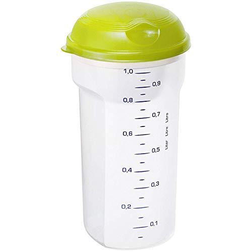 Rotho Take and Shake Shaker 1 l, Kunststoff (BPA-frei), transparent / grün, 1 Liter (11,5 x 11,5 x 2,5 cm)