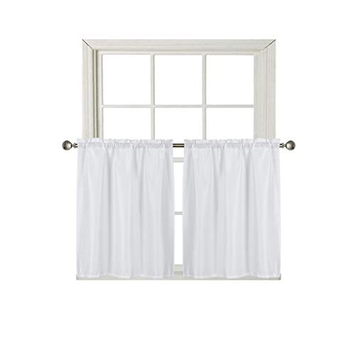 Home Queen Waffle Water Repellent Tier Curtains for Bathroom Window, Short Room Darkening Rod Pocket Kitchen Curtains, 2 Panels, 36 W X 36 L Inch Each, Solid White
