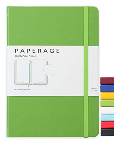 Paperage Dotted Journal Bullet Notebook, Hard Cover, Medium 5.7 x 8 inches, 100 gsm Thick Paper (Green, Dotted)