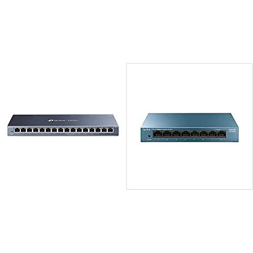 TP-Link Tl-Sg116 Gigabit Ethernet De 16 Puertos Conmutador No Gestionado + Ls108G - Switch 8 Puertos (10/100/1000) Switch Ethernet Gigabit