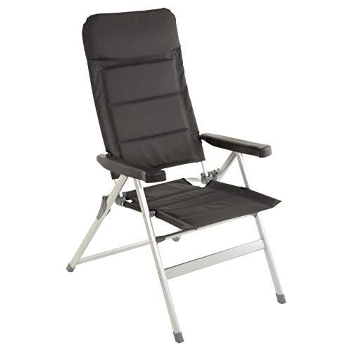 Nexos Premium Klappstuhl Relax-Stuhl Campingstuhl Klappsessel – für Garten Terrasse Balkon Veranda – klappbarer Gartenstuhl gepolstert Alu - schwarz grau