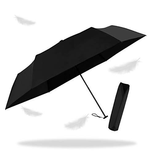 折りたたみ傘 日傘 軽量 UVカット率99.9% 全世界で一番軽い92gアルミニウムマグネシウム合金炭素繊維で作成され 晴雨兼用 強風に耐えられ 超撥水 完全遮光 (ブラック, M)