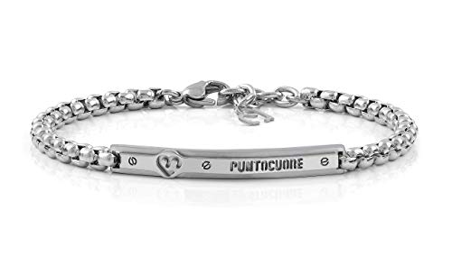 puntocuore - Pulsera de acero inoxidable, hipoalergénico, diseño elegante, joya fabricada en Italia, pulsera, accesorio – Mujer/hombre/unisex plateado
