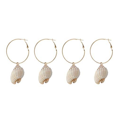 Desconocido Generic 2 Pares de Pendientes Colgantes de Concha Boho Pendientes de Gota de Concha Delicada Aretes de Oreja de Playa de Verano para Mujeres Niñas (Concha Blanca)