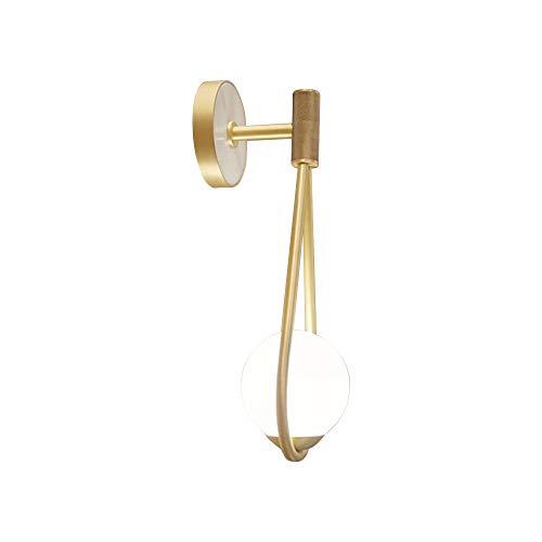 AGTRRYHZ Lampade da Parete in Metallo Dorato Applique a Forma di Cono in Vetro Bianco sferico